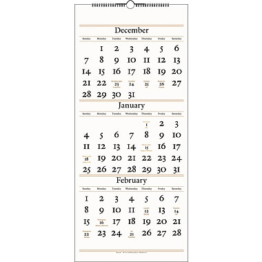 "2014 AT-A-GLANCE® Three-Month Reference Wall Calendar, 12 1/4"" x 27"""