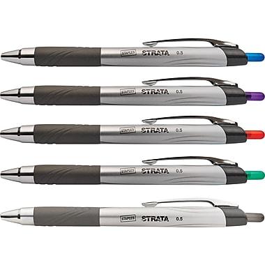 Staples® Strata™ Gel Retractable Pens, Needle Point, Assorted, 5/Pack