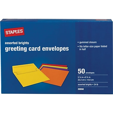 Staples Brights Greeting Card Envelopes, 50/Box (18688)