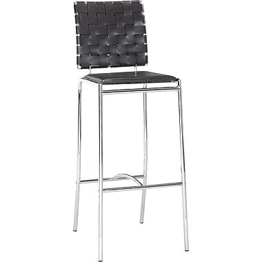 Zuo Modern Criss Cross Faux Leather Bar Stool, Black, 2/Pack