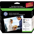 HP 57/58 Tricolor and Photo Ink Cartridges (CR685AN#140) Photo Value 2/Pack