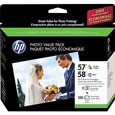 HP 57/58 Tricolor and Photo Ink Cartridges (CR685AN), Photo Value Combo 2/Pack