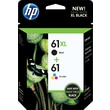HP 61XL/61 High Yield Black and Standard Tricolor Ink Cartridges (CZ138FN), Combo 2/Pack
