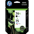 HP 74XL/75 High Yield Black and Standard Tricolor Ink, Combo 2 Pack