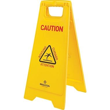 Stpales – Panneau « Caution » multilingue, jaune, 12 po x 12 1/2 po x 24 po