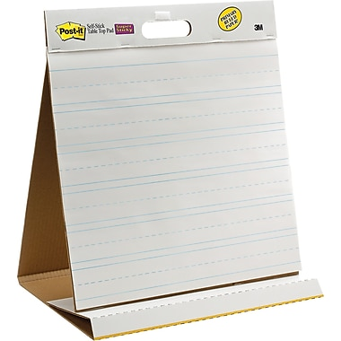 Post-it® Super Sticky 20in.x23in., Table-top Easel Pad, White with Faint Blue Lines