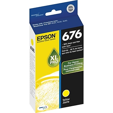 Epson 676XL Yellow Ink Cartridge (T676XL420), High Yield
