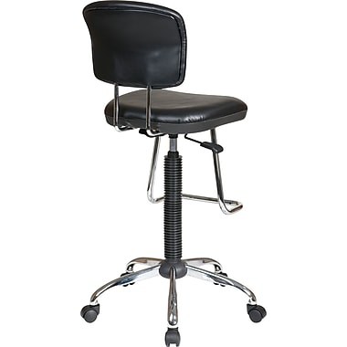 Office Star Faux Leather and Chrome Drafting Chair with Teardrop Footrest, Black