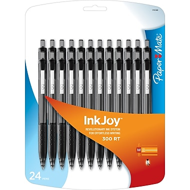 Paper Mate® InkJoy® 300 Ballpoint Retractable Pens, Medium, Black, 24/Pack