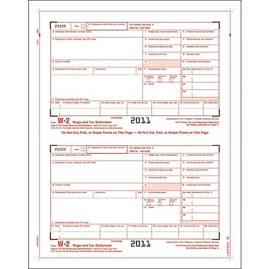 TOPS W-2 Tax Form, 1 Part, Copy A, White, 8 1/2in. x 11in., 50 Sheets/Pack