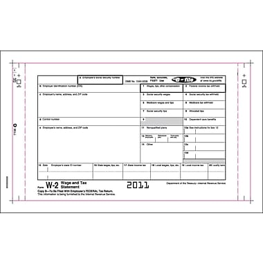 TOPS™ W-2 Tax Form, 3 Part, Continuous Employee Set, White, 9 1/2in. x 5 1/2in., 100 Forms/Pack