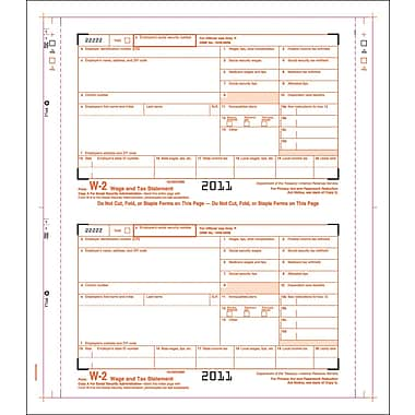 TOPS® W-2 Tax Form, 4 Part, Continuous Employer Set, White, 9 1/2