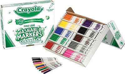 Crayola Classpack Washable Markers Assorted Colors, Fine Line Tip 200/Box 562917