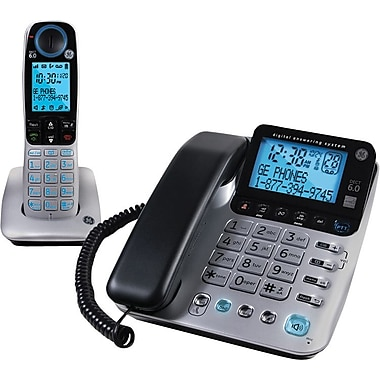 GE 30524EE2 DECT 6.0 Corded/Cordless Speakerphone with Digital Answering System