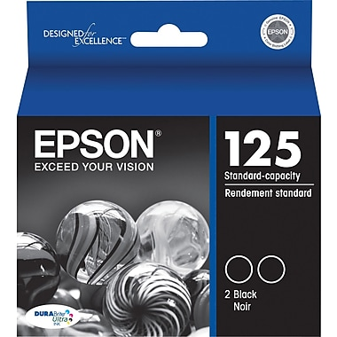 Epson 125 Black Ink Cartridges (T125120-D2), Standard Yield 2/Pack