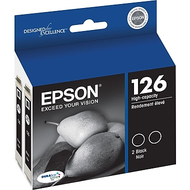 Epson 126 Black Ink Cartridges (T126120-D2), High Yield, 2/Pack