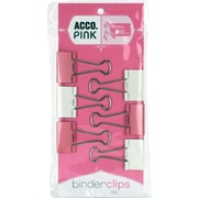 "Acco® Medium Pink Ribbon Binder Clips, 1 1/4"" Size with 5/8"" Capacity"