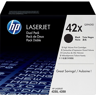 HP 42X (Q5942XD) Black High Yield Original LaserJet Toner Cartridges, 2/Pack