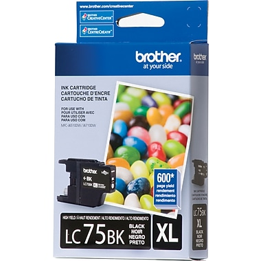 Brother LC75BK Black Ink Cartridge, High Yield