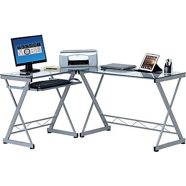 TechniMobili Tempered Glass Top L-Desk