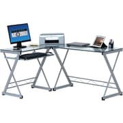 TechniMobili® Tempered Glass Top L-Desk