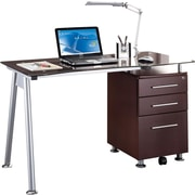 TechniMobili® Chocolate Glass Top Computer Desk