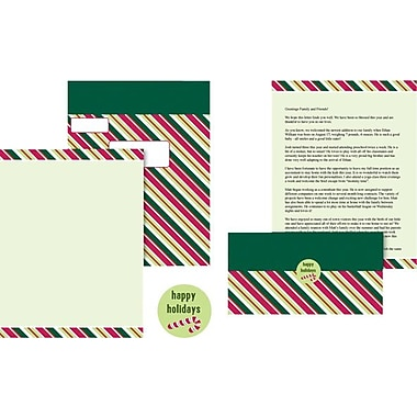Great Papers® Candy Cane Stripes Stationery Kit, 50/Pack
