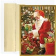 Delivering Gifts Santa Holiday Card with White Gold Foil Envelopes