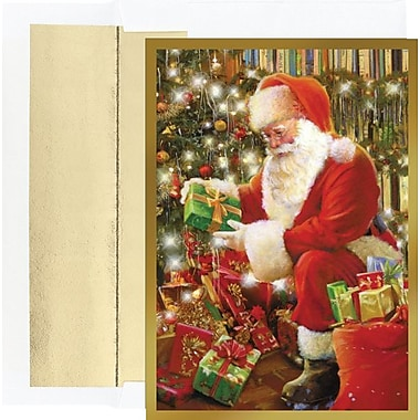 Great Papers Delivering Gifts Santa Holiday Card with White Gold Foil Envelopes