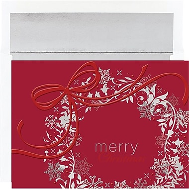 Great Papers Silver & Red Wreath Greeting Cards