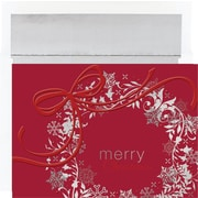 Great Papers® Holiday Cards Silver & Red Wreath , 16/Count