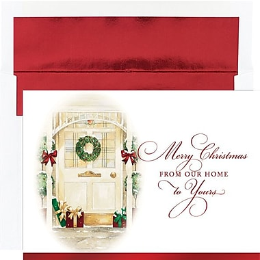 Front Door Greetings Holiday Card with White Red Foil Envelopes