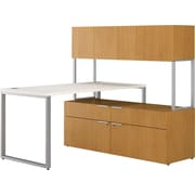 HON Voi Compact L-Shaped Office Desk, 60W, Silver Mesh/Harvest, Low Credenza w/ Hutch