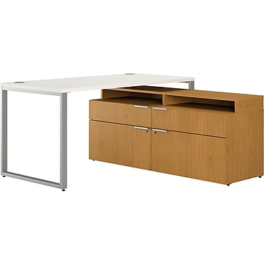 HON® Voi™ L-Station, Low Credenza w/ Layering Shelf, Silver Mesh/Harvest