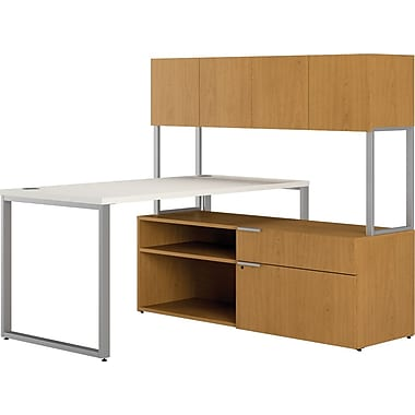 HON Voi Compact L-Shaped Office Desk, 60in.W, Silver Mesh/Harvest, Left Low Credenza w/ Hutch