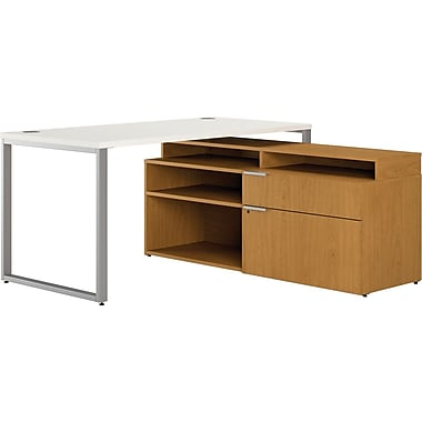 HON Voi Compact L-Shaped Office Desk, 60in.W, Silver Mesh/Harvest, Left Low Credenza w/ Layering Shelf