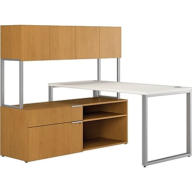 HON Voi Compact L-Shaped Office Desk, 60in.W, Silver Mesh/Harvest, Right Low Credenza w/ Hutch