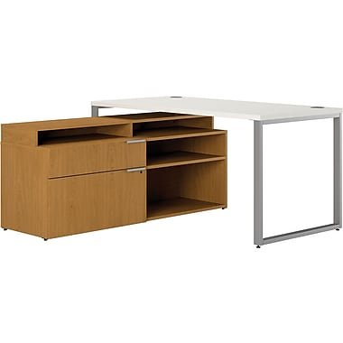 HON Voi Compact L-Shaped Office Desk, 60in.W, Silver Mesh/Harvest, Right Low Credenza w/ Layering Shelf