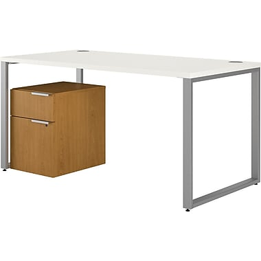 HON Voi Compact L-Shaped Office Desk, 60in.W, Silver Mesh/Harvest Melamine