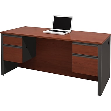 Bestar Prestige+ Double Pedestal Desk. Bordeaux Cherry/Graphite