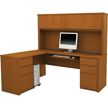 Bestar Prestige+ L-Workstation w/ Hutch and 2 Pedestals, Cognac Cherry