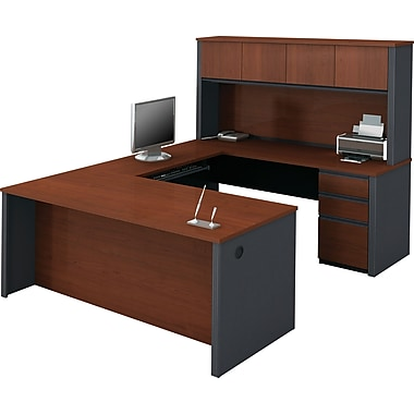 Bestar Prestige+ U-Workstation w/ Hutch and Pedestals