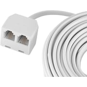 GE 25' Line Phone Cord with Dual Jack Extension Coupler (White)