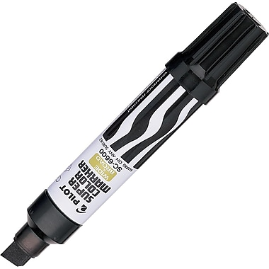 Pilot Super Color Jumbo Permanent Marker, Chisel Tip, Black Ink, Each (43100)