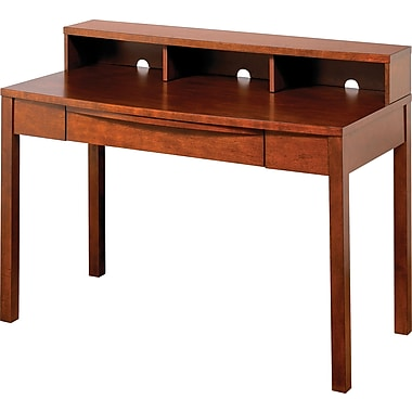 Z-Line Deluxe Wood Office Collection Desk & Hutch, Cherry