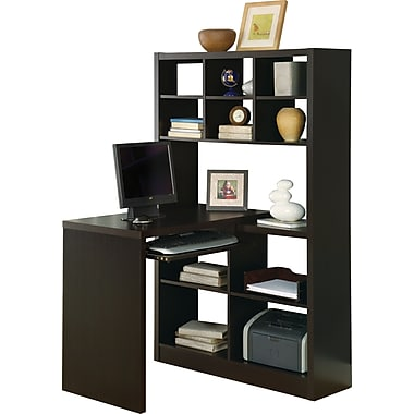 Monarch Specialties Reversible Storage Desk, Cappuccino