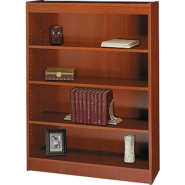 SAFCO Workspace Square Edge Veneer 4-Shelf Bookcase, Cherry