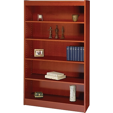 SAFCO Workspace Square Edge Veneer 5-Shelf Bookcase, Cherry