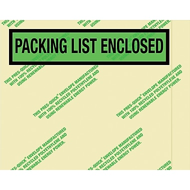 Staples Environmental in.Packing List Enclosedin. Envelopes, 7 in. x 5 1/2in., Panel Face, 1,000/Case