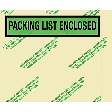 Staples Environmental in.Packing List Enclosedin. Envelopes, 4 1/2in.x5 1/2in., Panel Face, 1,000/Case